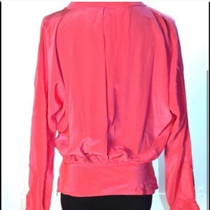 Chelsea Flower Tops - Chelsea Flower 100% silk red blouse XS